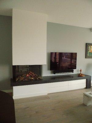3-zijdige gashaard Faber Matrix 800 500 III met plateau en meubel
